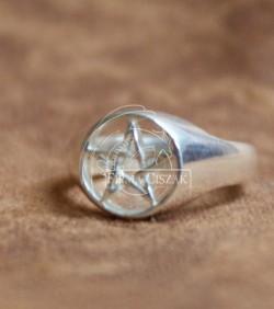 pentagram pierścień ażur