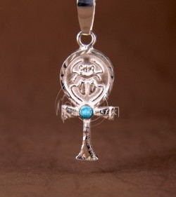 Ankh cross with turquoise